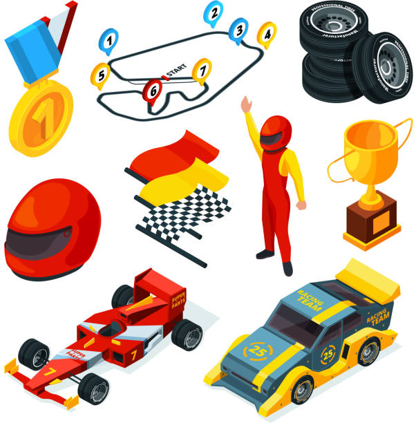 sport racing symbols. isometric pictures of racing cars and formula 1 symbols - formula 1 stock illustrations