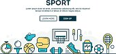 Sport, recreation, active lifestyle, colorful concept header, flat desig