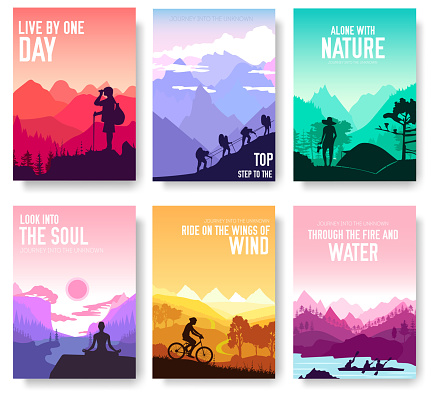 Sport rest day vector brochure cards set.  Tourism on nature template of flyer, magazines, poster, book cover, banners. Active lifestyle invitation concept background. Layout illustration modern page