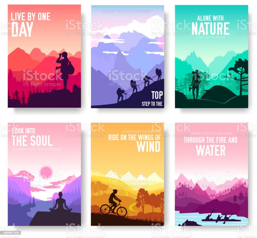 Sport rest day vector brochure cards set.  Tourism on nature template of flyer, magazines, poster, book cover, banners. Active lifestyle invitation concept background. Layout illustration modern page vector art illustration
