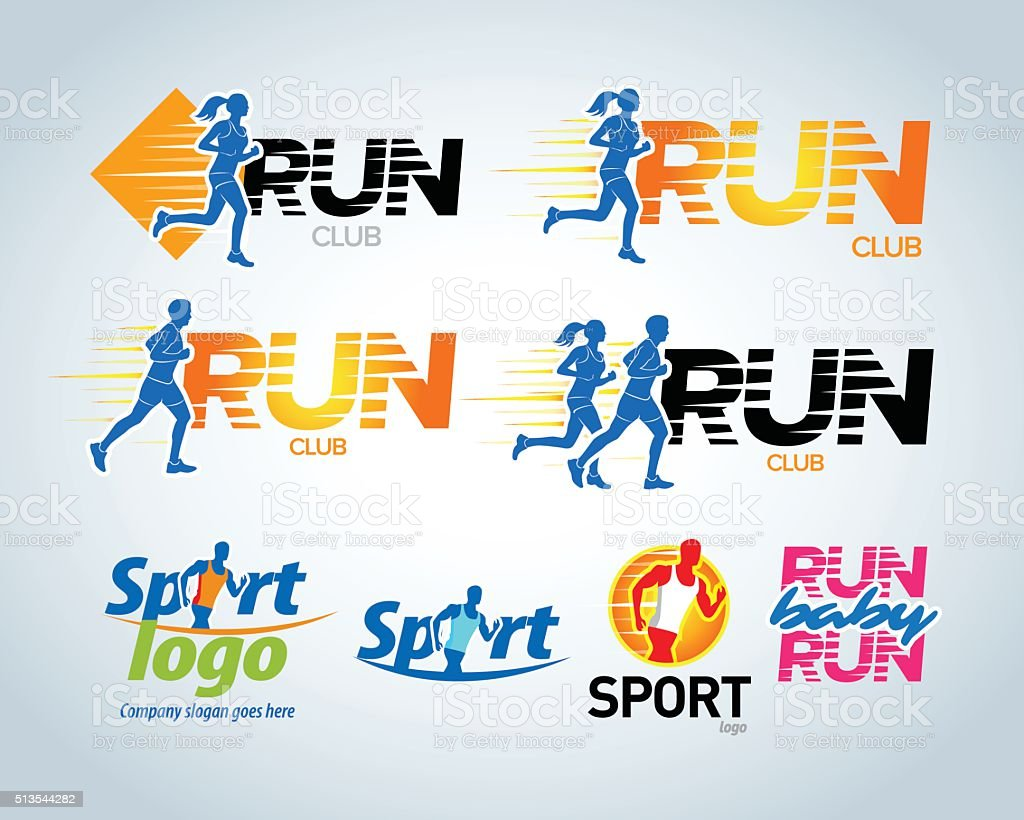 Sport running club vector labels and emblems or badges. vector art illustration