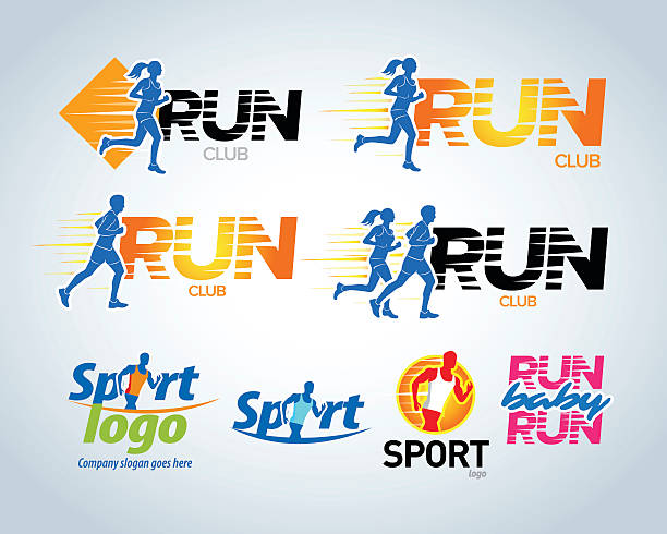 sport running club vector labels and emblems or badges. - running stock illustrations