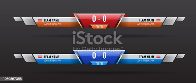 Sport scoreboard bars or lower third template with time and result display. Vector illustration for your design.