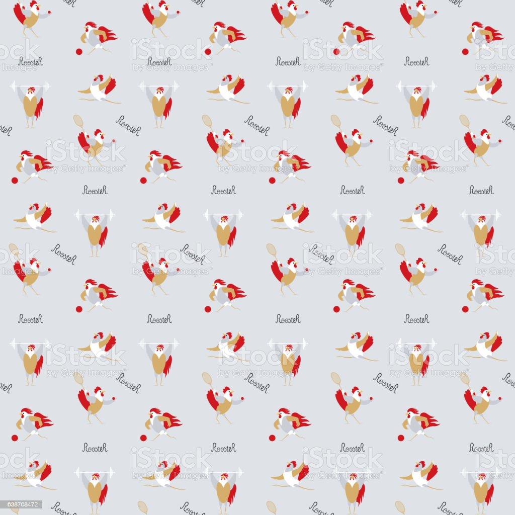 Sport seamless pattern with roosters – Vektorgrafik