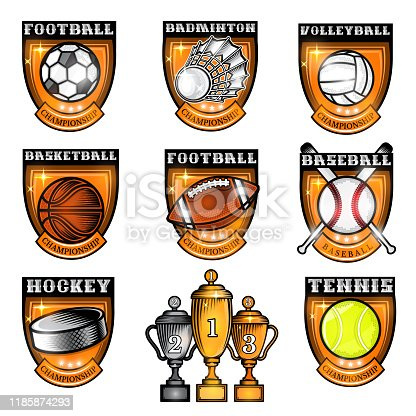 istock Sport set equipment ball, shuttlecock, puck in center of shield with name of game. Sport labels isolated on white for any team or competition 1185874293