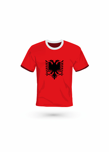 Sport shirt in colors of Albania flag. Vector illustration for sport, championship and national team, sport game