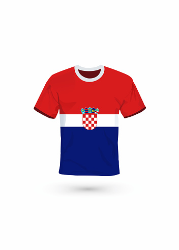Sport shirt in colors of Croatia flag. Vector illustration for sport, championship and national team, sport game