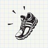 Sport shoe doodle icon
