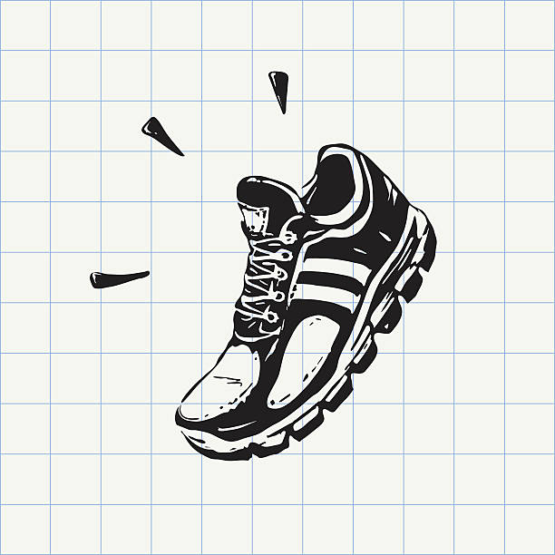 sport shoe doodle icon - schuhe für sport und freizeit stock-grafiken, -clipart, -cartoons und -symbole