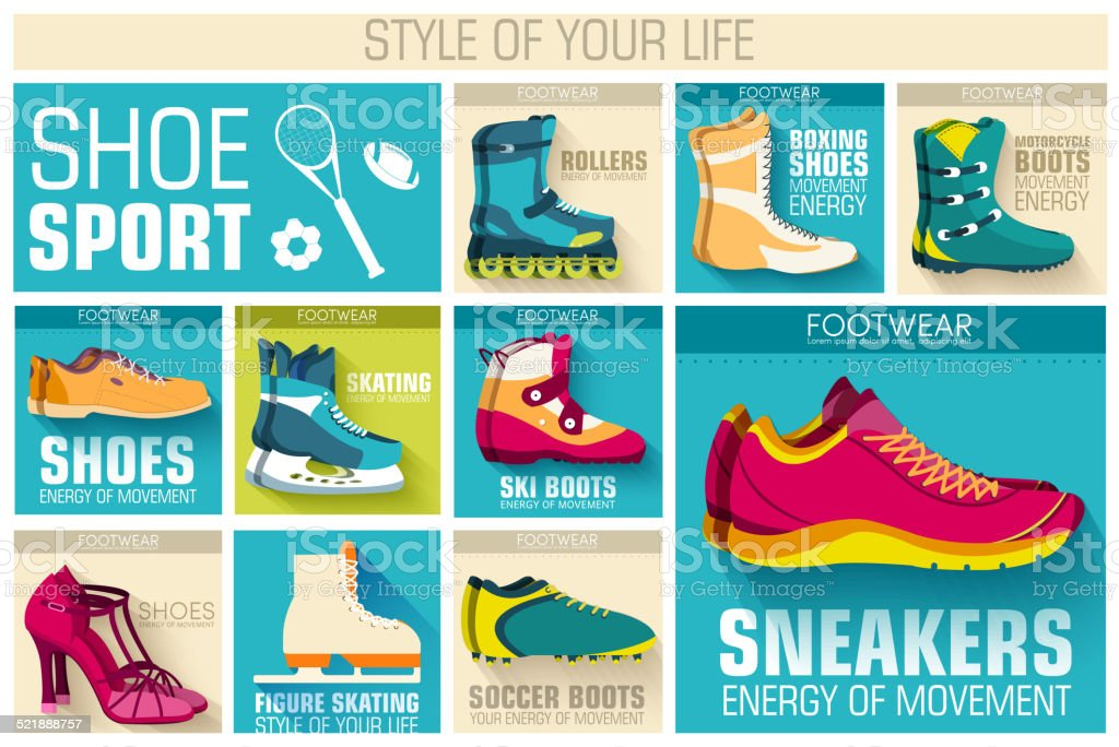 sport shoe equpment backgrounds. Template for web and mobile applications. vector art illustration