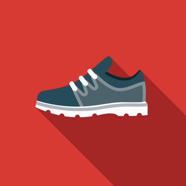 sport schuh flach design sport-ikone mit seite schatten - schuhe für sport und freizeit stock-grafiken, -clipart, -cartoons und -symbole
