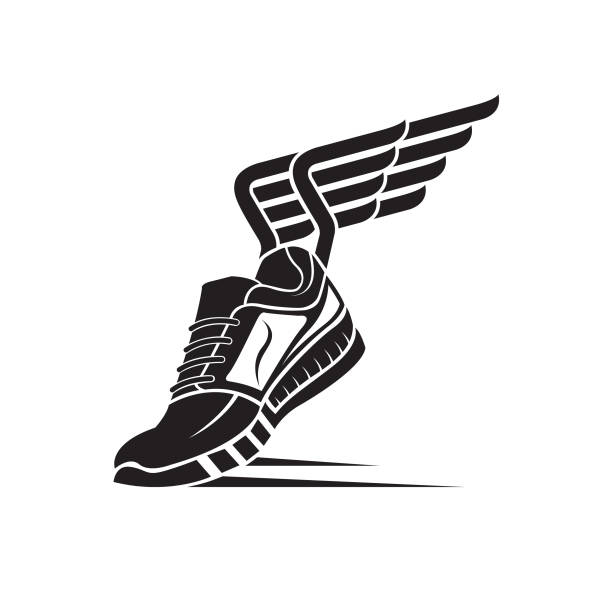 sport shoe icon - animal wing stock illustrations