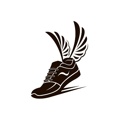 speeding sport shoes with wings isolated on white background