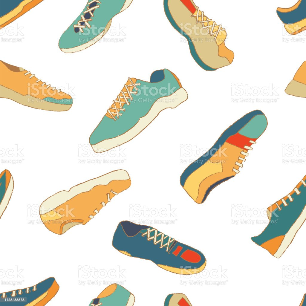 Deportivas Y Zapatillas Un Ilustración Con De Sin Patrón Costuras XiOZuPk