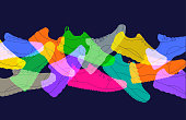 Colourful silhouettes of sport shoes, sneakers or trainers