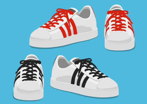 sport shoes with red and black strings, vector illustration Sneaker, sport shoes isolated on blue background. shoe stock illustrations