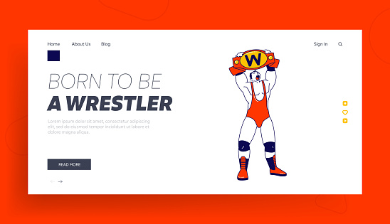 Sport, Show Performance, Combat on Professional Arena Landing Page Template. Male Character Wrestling Fight Winner Holding Golden Belt above Head. Boxing Battle Competition. Linear Vector Illustration