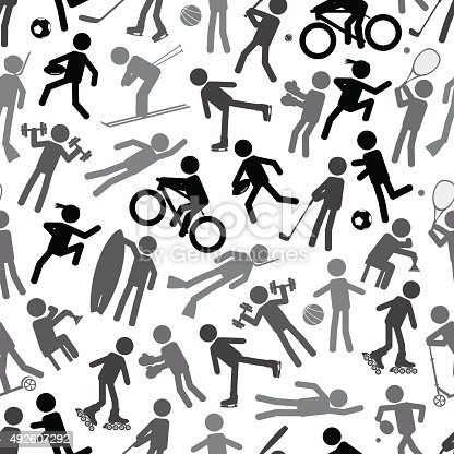 istock sport silhouettes gray-scale simple icons seamless pattern eps10 492607292