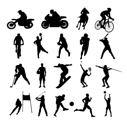 Sport silhouettes. Set of vector silhouettes of athletes from various sports. Active people