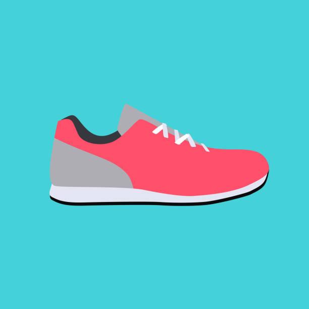 sport sneakers icon flat vector illustration - schuhe für sport und freizeit stock-grafiken, -clipart, -cartoons und -symbole