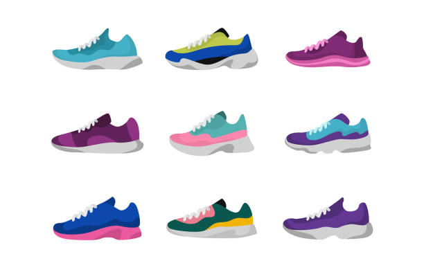 Sport sneakers shoes. Sport, running, fitness, workout shoes. Vector Sport sneakers shoes. Sport, running, fitness workout shoes Vector illustration running shoes stock illustrations