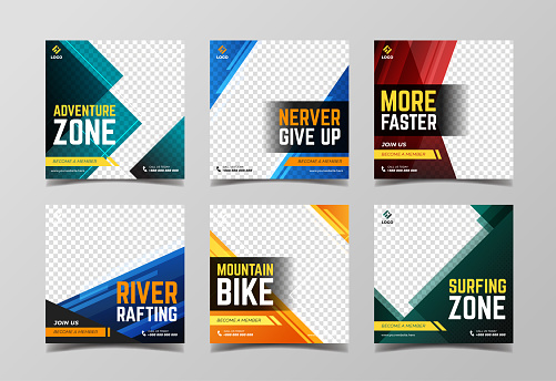 Sport social media post template. Adventure, racing sport and extreme sport banner