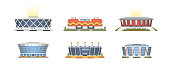 Sport stadium front view vector collection in cartoon style. City arena exterior illustration