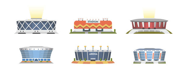 Sport stadium front view vector collection in cartoon style. City arena exterior illustration. Sport stadium front view vector collection in cartoon style. City arena exterior illustration stadium stock illustrations