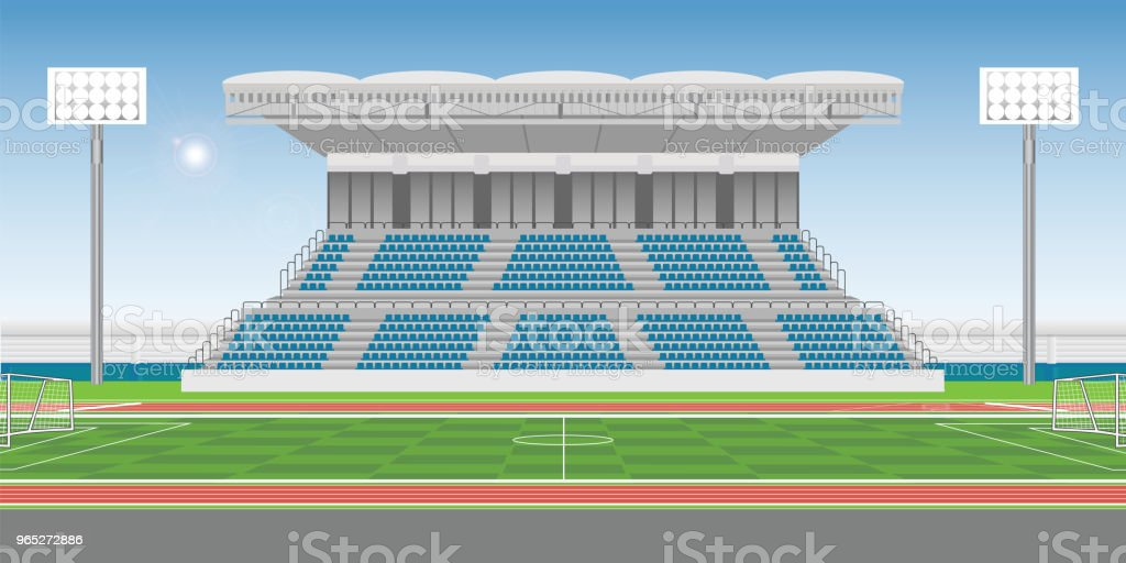Sport stadium grandstand to cheering sport with soccer field royalty-free sport stadium grandstand to cheering sport with soccer field stock vector art & more images of adulation