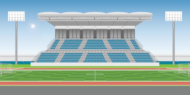 サッカーのフィールドでスポーツを応援するスポーツ スタジアム スタンド - スタジアム点のイラスト素材/クリップアート素材/マンガ素材/アイコン素材