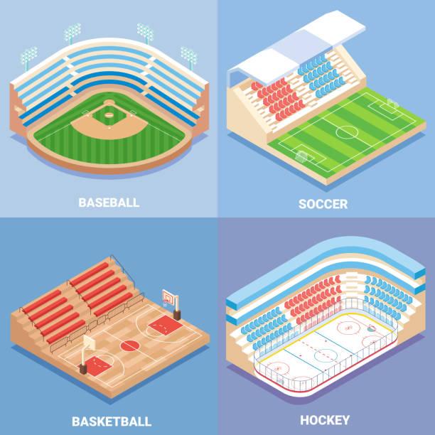 sport stadium vector flat isometric icon set - baseball stadium stock illustrations, clip art, cartoons, & icons