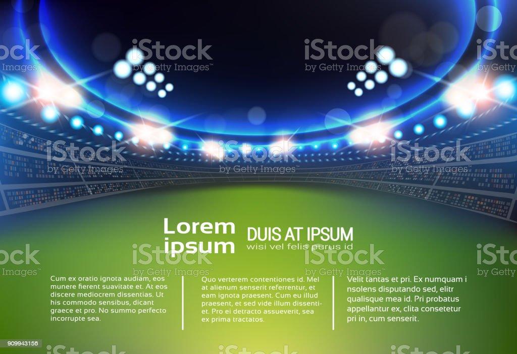Deportes estadio con tribunas plantilla infografía fondo y luces - ilustración de arte vectorial