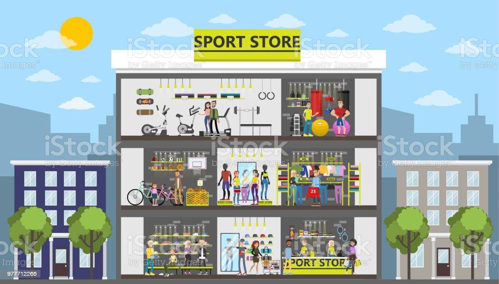 fbea23f53 Construção de cidade de loja de desporto. vetor de construção de cidade de  loja de