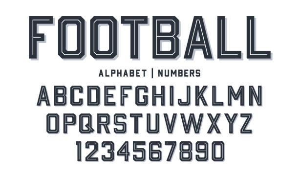 ilustrações, clipart, desenhos animados e ícones de fonte do estilo do esporte. pia batismal do estilo do futebol com linhas para dentro. letras e números atléticos do estilo para o basebol, o basquetebol e o jogo do futebol - equipe esportiva