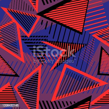 Sport style abstract vector seamless pattern with geometric lines, triangles, stripes. Urban art texture. Trendy colorful graphic background for boys and girls. Bright neon colors, red, blue, black