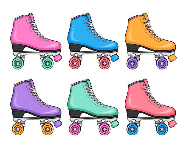 sport style hipster fashion set retro-bunte rollschuhe - rollschuh stock-grafiken, -clipart, -cartoons und -symbole
