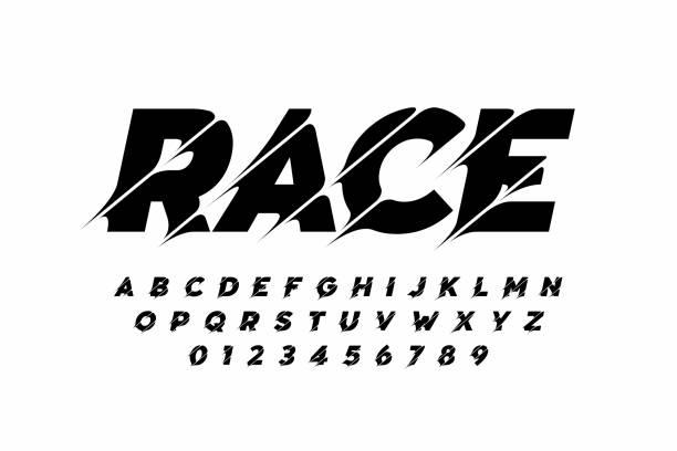 Sport style modern font vector art illustration