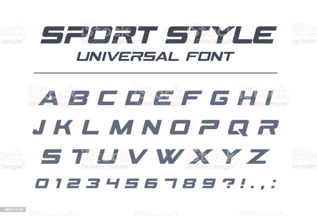Sport style universal font. Fast speed, futuristic, technology, future alphabet. vector art illustration