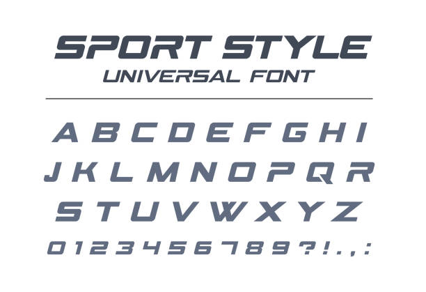 Sport style universal font. Fast speed, futuristic, technology, future alphabet. Sport style universal font. Fast speed, futuristic, technology, future alphabet. Letters and numbers for military, industrial, electric car racing logo design. Modern minimalistic vector typeface training equipment stock illustrations