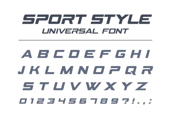 sport style universal font. fast speed, futuristic, technology, future alphabet. - race stock illustrations