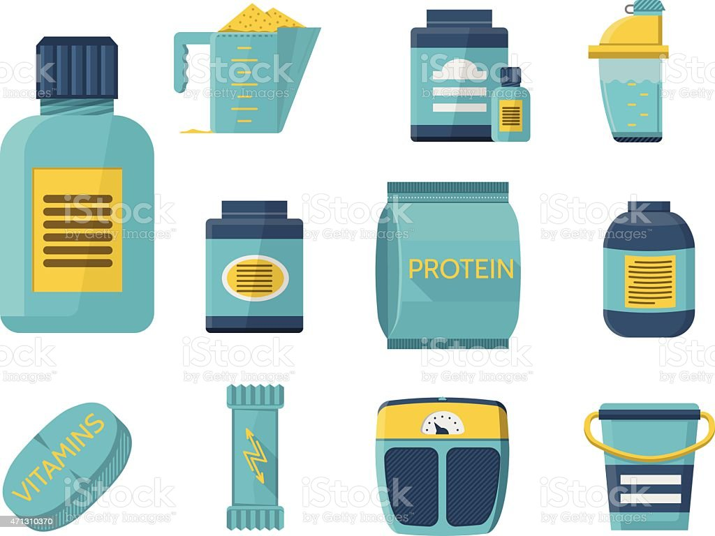 Sport supplements flat blue vector icons vector art illustration