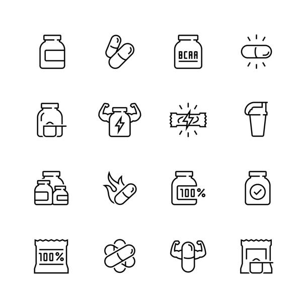Sport supplements related vector icon set in thin line style Sport supplements related vector icon set in thin line style amino acid stock illustrations