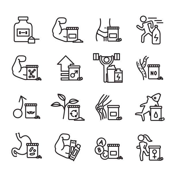 illustrazioni stock, clip art, cartoni animati e icone di tendenza di sport supplements thin line icon set. vector. - runner rehab gym
