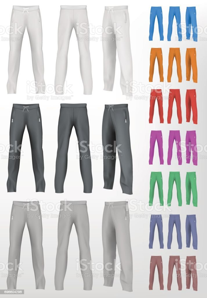 Sport sweatpants set. Isolated background vector art illustration