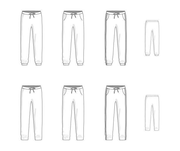 sport-jogginghose festgelegt. vektor-illustration - laufführer stock-grafiken, -clipart, -cartoons und -symbole