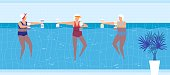 istock Sport swim activity in pool vector illustration, cartoon flat elderly woman swimmer character group doing exercise with dumbbells 1270703227