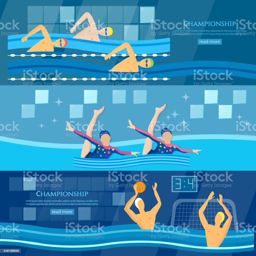 Sport swimming water polo synchronized swimming banner professional...