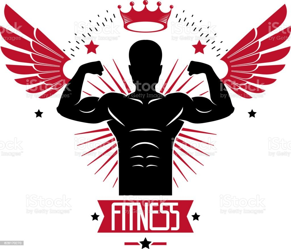 Sport Symbol For Weightlifting Gym And Fitness Club Retro Style