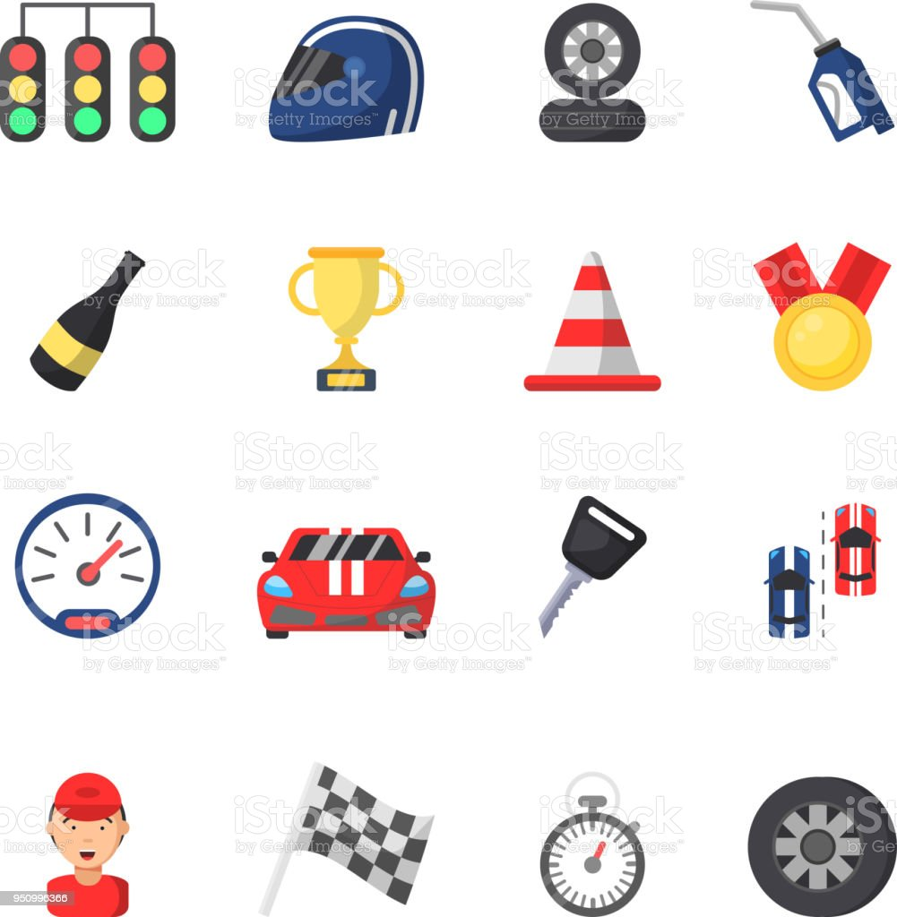 Sport Symbols Of Racing Car Motor Track And Other Flat Icons Stock