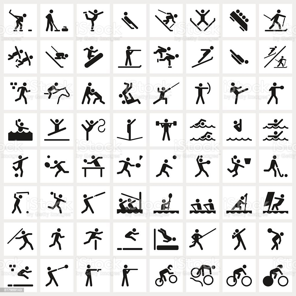 Sport Symbols Stock Vector Art More Images Of Alpine Skiing